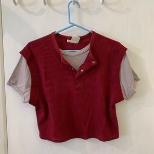 Tops - Vintage Crop Top Sweater w/ Shirt Underneath